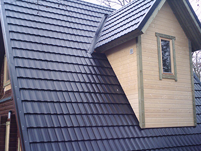 Log cabin roof covering